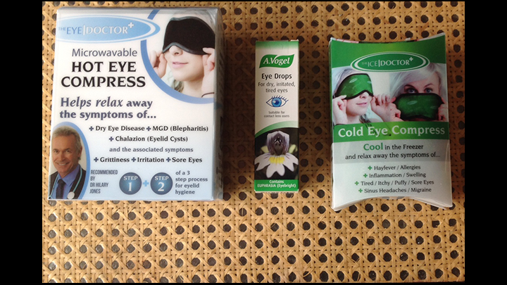 Best Products For Sore And Dry Eyes? The Hot Eye Compress Mask And The Cold Eye Compress From The Body Doctor Along With A.Vogel Eye Drops Fit The Bill For Me!