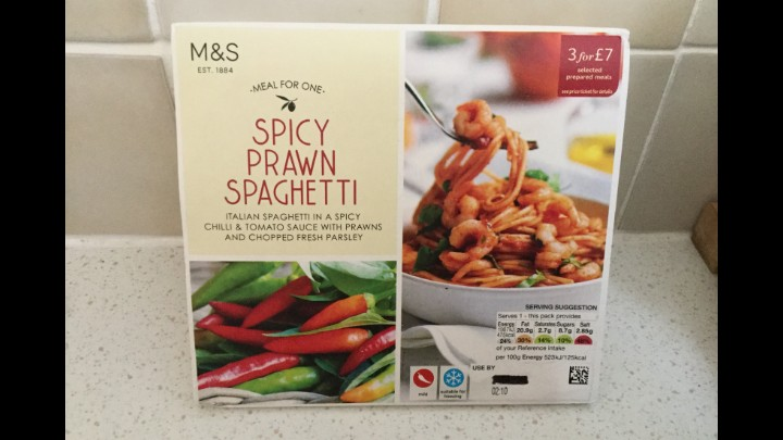 A Week On Ready Meals From Marks And Spencer - Day 6 Spicy Prawn Spaghetti