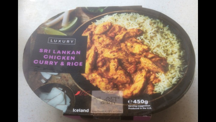 A Week On Ready Meals From  Iceland Day 5 Sri Lankan Chicken Curry & Rice